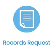 Records Request paper form icon in blue circle
