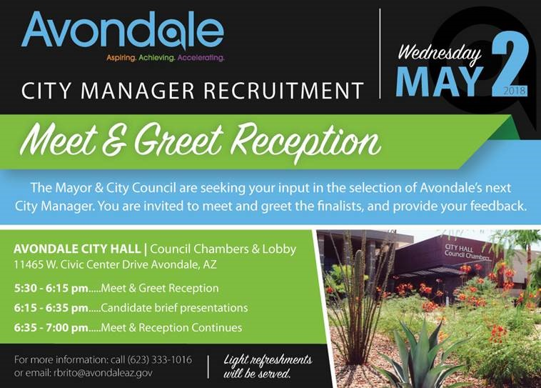 Avondale City Council to Host Meet & Greet for City Manager Finalists