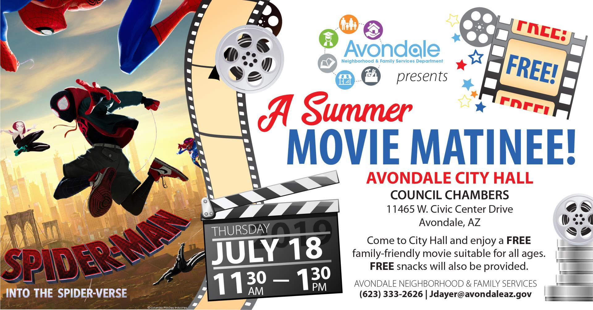 Summer Movies at City Hall - Spiderman into the Spider-verse