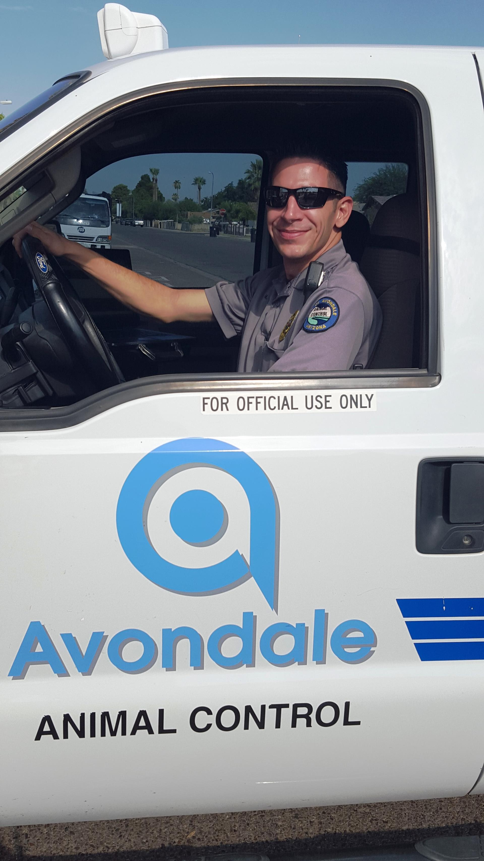 Animal Control Officer in vehicle