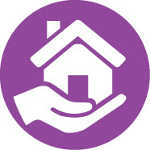 Purple circle with hand holding house