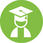 Green circle with student in graduation cap and gown