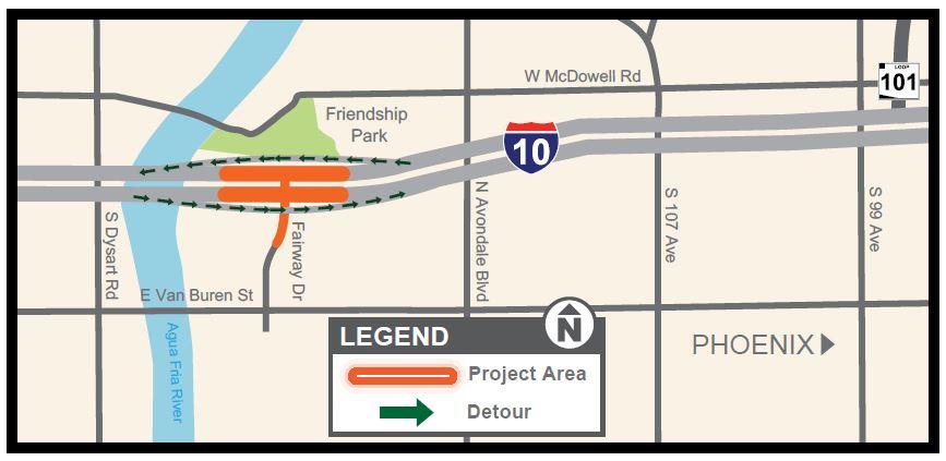 2020.2.18 - I-10 closure map